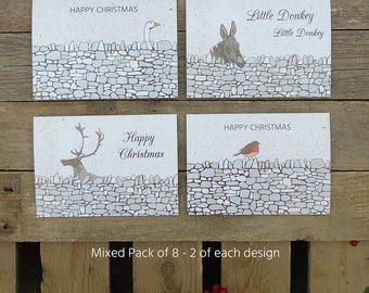 Pack of 8 Drystone Wall Animal Christmas Country Cards