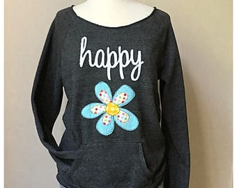 Daisy Sweatshirt, Scoop neck sweatshirt, Flower sweatshirt, Alternative Apparel sweatshirt, maniac sweatshirt, raw edge neck