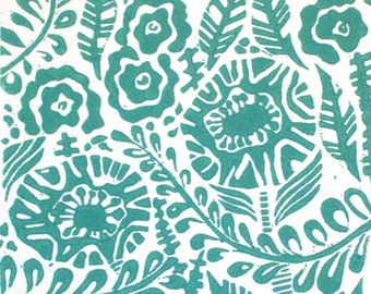 Blithe Linocut Relief Print Original in Verdigris