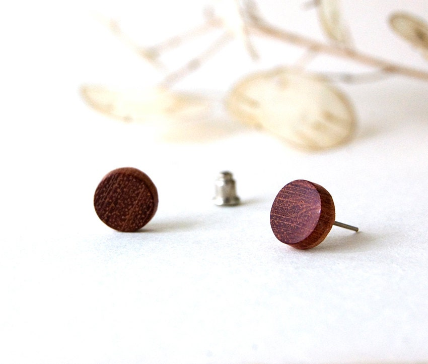 Mahogany Stud Earrings Mahogany Earrings Wooden Stud