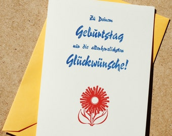 Folded birthday greeting card, letterpress, lead-type on Munken pure, with envelope