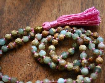 Knotted Gemstone Mala Necklace Faceted Aqua Terra Jasper Prayer Beads Mantra Meditation 108 Japa Mala Yoga Jewelry Crystal Healing Gemstones