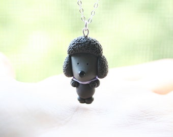 Dark grey Poodle Necklace -Sterling silver-