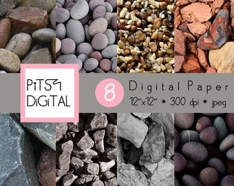 Stones Digital Paper Pack, Commercial Use, Pebbles Scrapbooking Supply, Nature Printable Background, 8 Rock Sheets, PitsyDigital DP0017