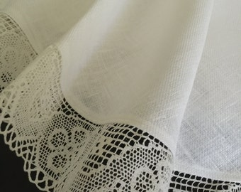 Linen Tablecloth Round Tablecloth Linen Lace White Ivory 63 inches