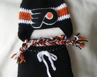 Crocheted Inspired Philadelphia Flyers Hat & Short Pants Set These Are Made to Order