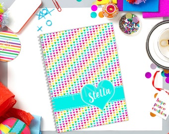 Rainbow Hearts Personalized Spiral Bound Notebook | FREE SHIPPING | Back To School | 50 sheets | Wide Ruled