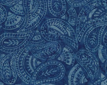 Half Yard Tonga Batik Fabric-Royal Paisley-Blue-Timeless Treasures