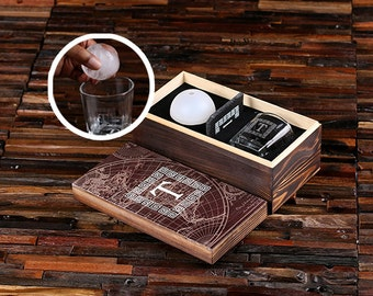 Whiskey Ball Whiskey Glass, Slate Coaster (Ice Ball Maker Mold) Wood Box Groomsmen Gift Father's Day Scotch Men's Personalized Gift Best Man