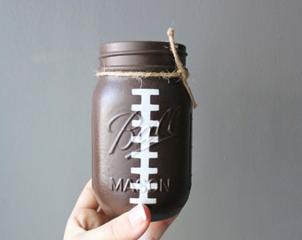 Football Mason Jar- Sports Party- NFL- Super Bowl- Centerpieces- Summer Party- Football Sunday- Dads Gift- Boyfriend- Party