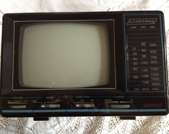 "Rare portable Lloytron 60s 5"" b/w TV with AM/FM radio"