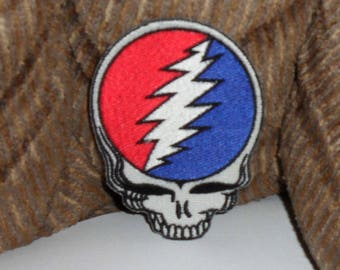 """Grateful Dead Steal Your Face Die Cut Embroidered iron on Patch 4"""""""