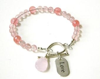 Bracelet for Women Beaded Bracelet Gift for Her Charm Bracelet Gift for Women Rose Quartz Silver Bracelet Stone Bracelet Birthday Gift