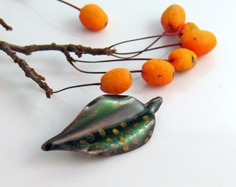 Little Dark Green Leaf Pin with Yellow Dots, Enameled Copper Jewelry, Lapel Pin or Brooch, Green Hat Pin, Artisan Made, Nature Inspired