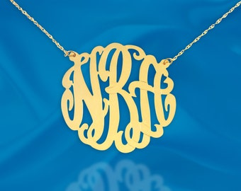 Monogram necklace - 1.25 inch Sterling silver 24K Gold Plated - Initial Necklace - Personalized Monogram - Custom Necklace - Made in USA