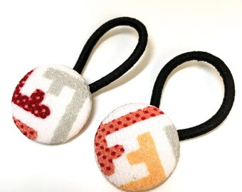 Japanse hair elastic, Set of 2 covered Button Hair Elastic, chirimen hair elastic, silk
