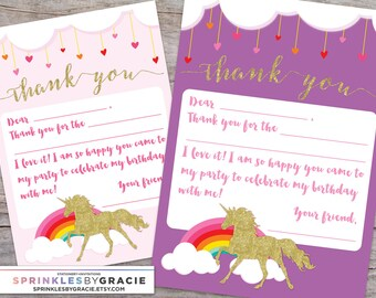 Unicorn Fill in the Blank Thank You Card DIY Printable - Magical Glitter Unicorn Birthday Party
