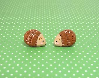 Cute Woodland Hedgehog Clay Sterling Silver Post Earrings