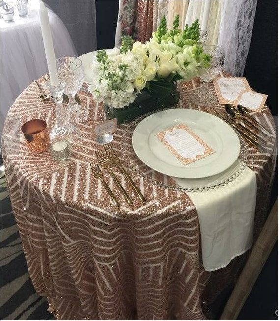 Good Rose Gold Sequin Tablecloth Sequin Table Cloth Sparkly