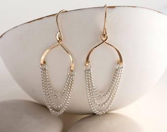 Chained Bridal Earrings - Hoop Earrings - gold hoop earrings - long earrings - greek earrings - bridal earrings - alternative bridal