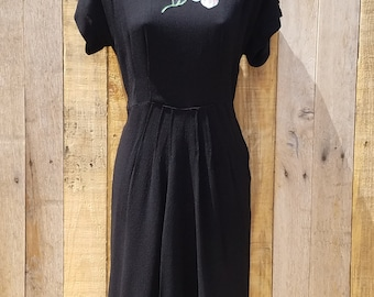 Late 1930s, early 1940s Black Crepe Wiggle Dress with Handpainted Flowers, WWII Tailored Black Dress, Floral Dress, Handpainted Detail