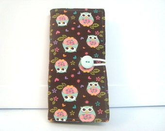 Loyalty Card Organizer Holder  12 Slot Business Card  Gift Card Wallet  Aqua and Peach Owls