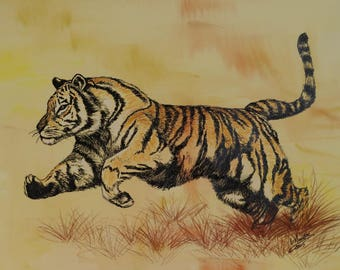 Tiger, pastel and ink, 50 x 40 cm