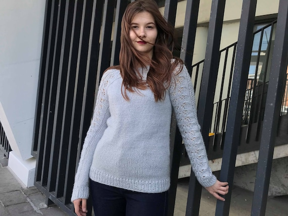 knit jumper Gray Comfy Casual sleeve sweater sweater Boho Round knit women lace neck mohair long top trendy hand sweater pullover Soft CwqtBX