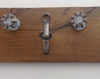 Handmade Coat Rack - made from re-purposed spanners and pipe fittings on a reclaimed timber base, great gift idea