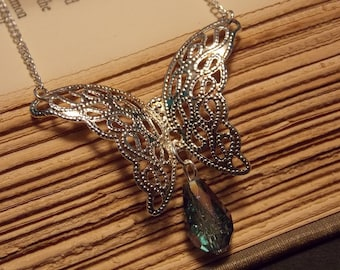 Silver Gem Drop Butterfly Necklace
