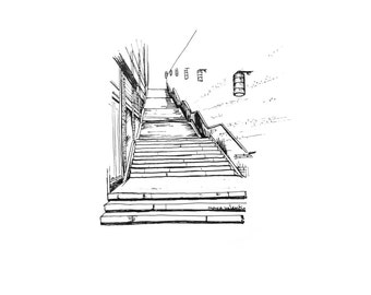 Print of Staircase - Black and White Line Illustration