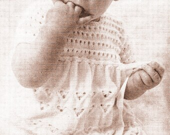 Instant PDF Digital Download Vintage Knitting Pattern to Knit Lace Dress for Baby Girl/PDF Knitting Pattern – 865