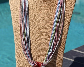 Vintage Pastel Color Multi-Strand Glass Tribal Necklace - FJ 111