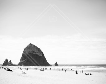 Cannon Beach BW Digital Print, Goonies Digital Print, Goonies Beach Digital Print, Haystack Rock Print