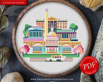 Modern Cross Stitch Pattern of Washington DC for Instant Download *P083 | Easy Cross Stitch|Counted Cross Stitch|Embroidery Design