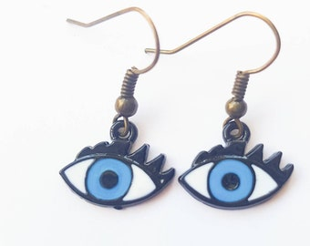 Evil eye enamel drop earrings in blue