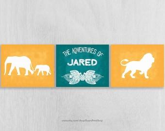Personalized Safari Nursery Art Prints Set of 3 - Adventure Nursery - The Adventures of - Jungle Nursery - Safari Wall Art - Safari Decor