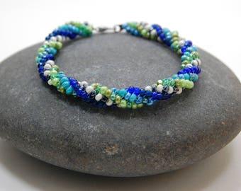 Colorful Beaded Bangle, Beaded Bracelet, Beadwoven Bracelet, Twisted Herringbone, Gift for Her, Handmade Jewelry, Birthday Gift