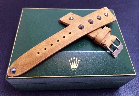 Handmade khaki leather watch band, Vintage look Leather Strap with metal pin for Rolex, IWC - 18mm/19mm/20mm lug width, 16mm buckle