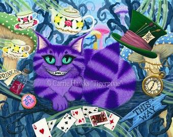 Cheshire Cat Art Cat Painting Alice in Wonderland Fairy Tale Purple Cheshire Cat Fantasy Cat Art Print 5x7 Cat Lovers Art