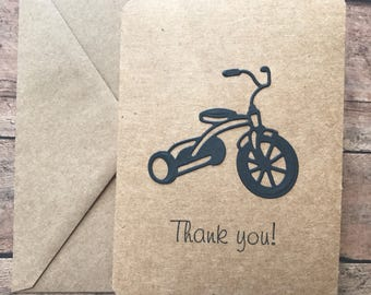 Tricycle Card Set, Thank You Card Set, Trike Note Card Set, Stationery Set, Greeting Card,  Blank Note Cards and Envelopes
