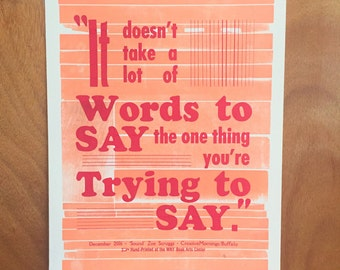 """CreativeMornings/Buffalo """"It doesn't take a lot of words to say the one thing you're trying to say"""" December 2016 Quote"""