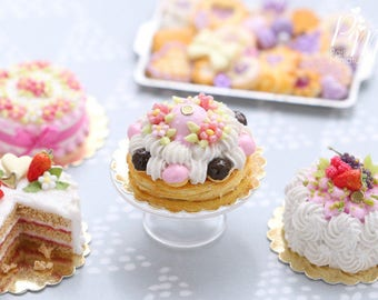 MTO-Pink Blossoms Spring St Honoré French Pastry - Miniature Food for Dollhouse 12th scale (1:12)