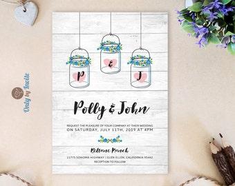 Mason jar wedding invitation PRINTED | Rustic woodsy wedding invitations | Mason jars with initials romantic wedding invites | Barn wedding