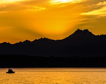 Sunset Image, Edmonds Washington, Olympic Mountain Range,