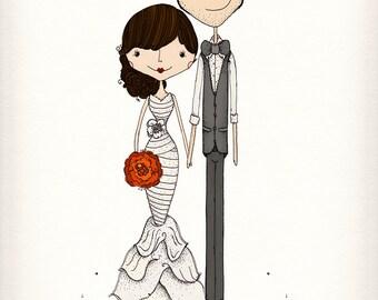 Super Sweet Personalized Wedding Illustration Keepsake