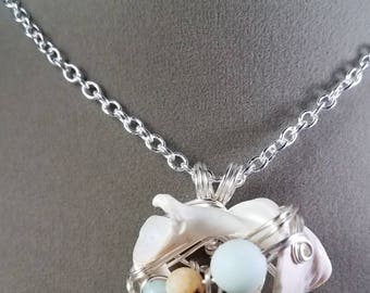 Seashell and Amazonite Silver Wire Wrapped Pendant