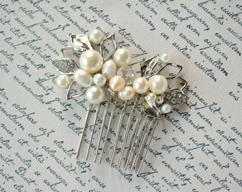 Prom hair comb, Pearl crystal hair comb, Bridal hair comb, Wedding comb, Prom hair piece, Swarovski headpiece, Quinceanera, Leaf hair comb