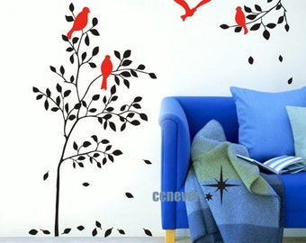 Cute birds on tree branch flying----Removable Graphic Art wall decals stickers home decor