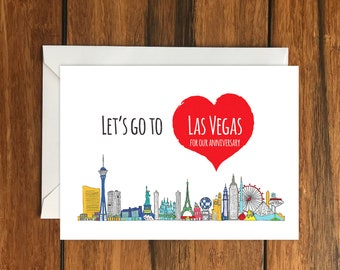 Let's Go To Las Vegas For Our Anniversary Blank greeting card, Holiday Card, Gift Idea A6